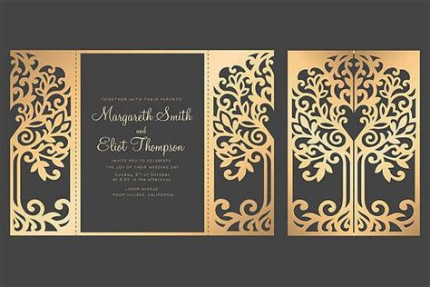 tree gate fold wedding invitation  cricut template quinceanera card svg dxf cricut