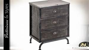 Table De Chevet Industriel : table de chevet de style industriel 3 tiroirs int rieurs styles ~ Teatrodelosmanantiales.com Idées de Décoration