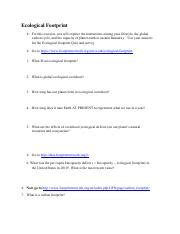 ecological footprint worksheet ecological footprint for this exercise you will explore the