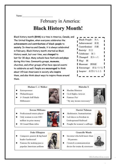 black history month worksheet  esl printable