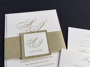 sample glitter wedding invitations glitter belly bands With how to make a wedding invitation belly band