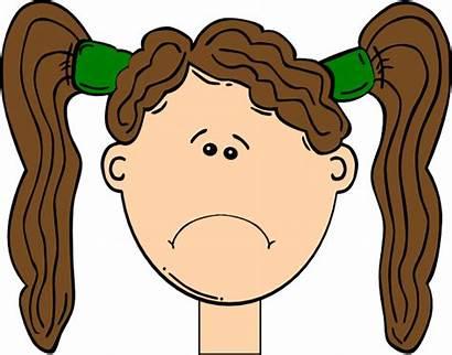 Sad Clipart Hair Brown Kid Child Unhappy