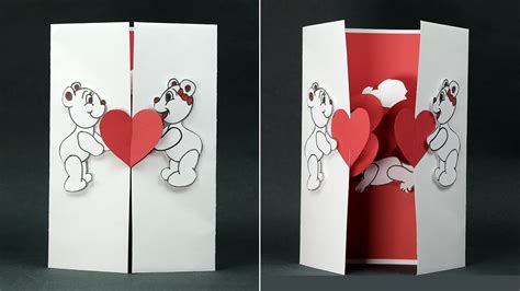 handmade valentine diy card kissing couple pop  card youtube