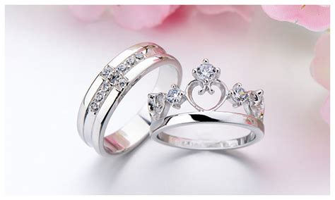 cz cross wedding band open crown engagement ring engravable promise rings