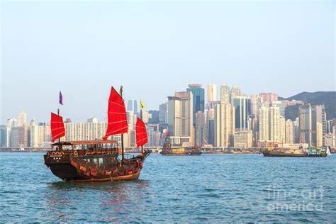 Sailing Boat Hong Kong by Chinese Junk Boat Sailing In Hong Kong Harbor Photograph