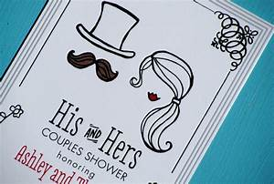 his and hers illustrated wedding couples shower invites With his and her wedding shower invitations