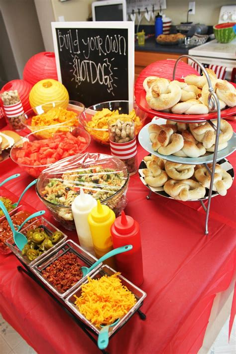 Build Your Own Hot Dog Bar Drinks Center Presents Table
