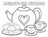 Tea Coloring Pages Boston Printable Birthday Pajama 5th Personalized Activity Favor Template Getcolorings Childrens Col Favors sketch template