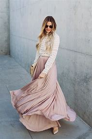 Long Pleated Maxi Skirt Lace Top