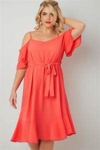 Coral Cold Shoulder Swing Dress With Frill Hem Plus Size