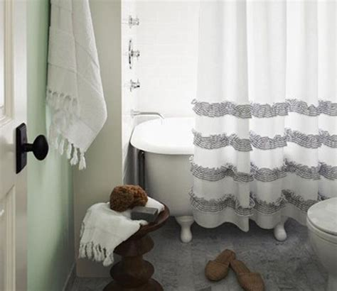 navy blue and white shower curtain with ruffled trim