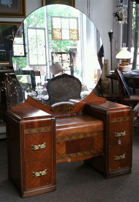 art deco wood inlay vanity dressing table