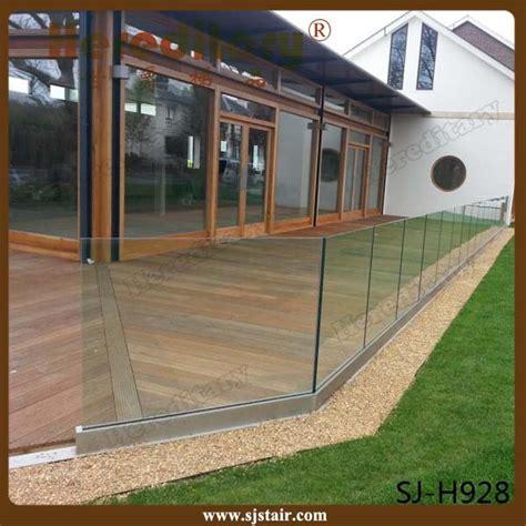 frameless glass balcony railing aluminum  channel glass
