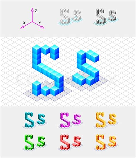 Isometric Font From The Cubesletter S Vector Stock