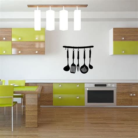 ustensiles de cuisine en p sticker mural ustensiles de cuisine gt décomotif