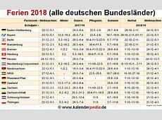 Ferien 2018 in Deutschland alle Bundesländer