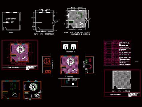living room design interior dwg block  autocad