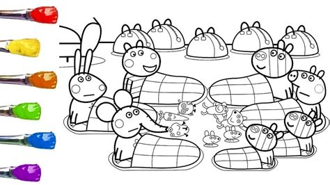 Peppa Pig Friends Coloring Page with Paint Learning