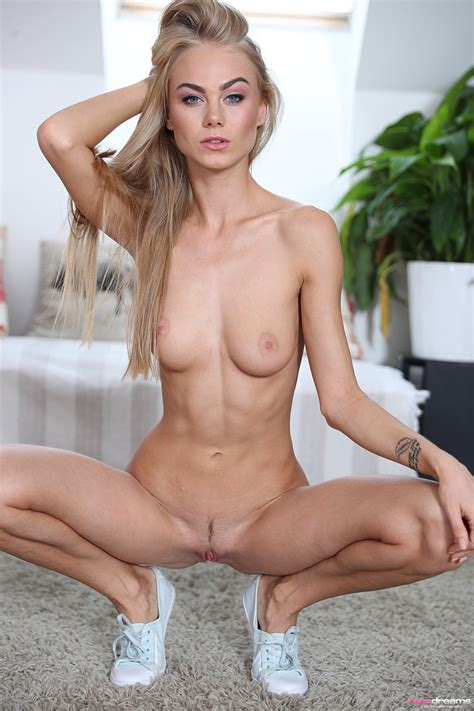 Skinny Young Nancy Squatting Naked And Bending To Show Off