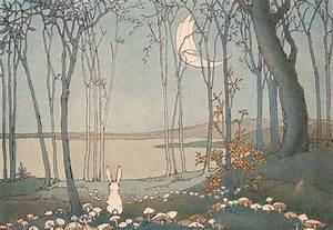 bunnies, cute, fairy tale, forest, illustration, lake ...