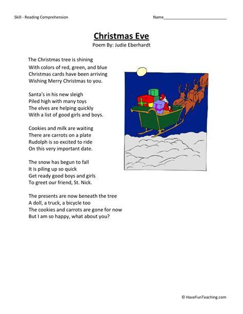 reading comprehension worksheet christmas eve
