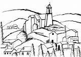 Cezanne Coloring Paul Gardanne Architecture Inspired Olivier Village Children Living Adults Complex Version Painting Step Ancient Drawing Adult Coloriage Factory sketch template