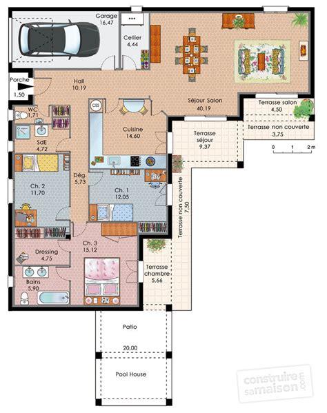 plan de maison 3 chambres plain pied plan maison plain pied en l 3 chambres