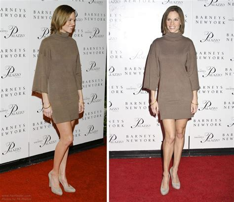 Hilary Swank with her hair cut in a one length bob and