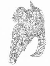 Coloring Crocodile Zentangle Adult Adults Printable Mycoloring sketch template