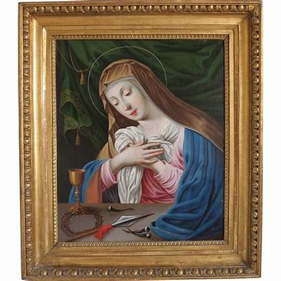 Oil Painting Madonna Antique Copper Century 19th