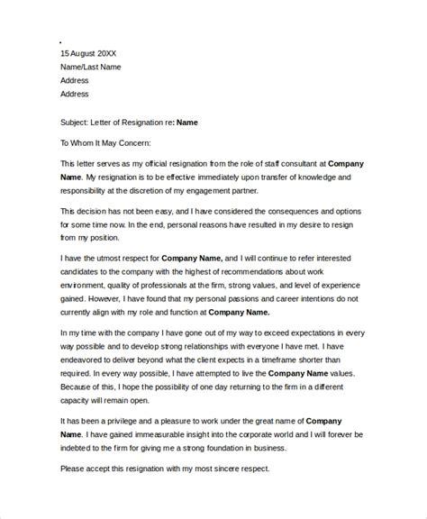 sample resignation letter  documents   word