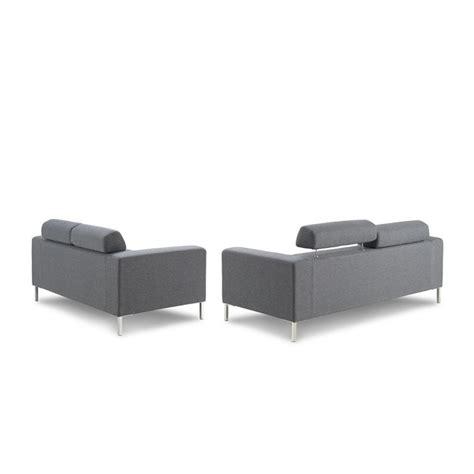 canapé droit design canapé droit fixe design 2 places charline en tissu gris