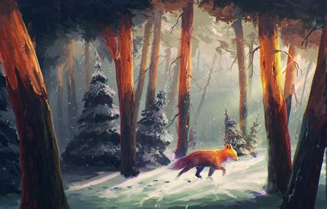 nature animals snow artwork digital art forest sylar