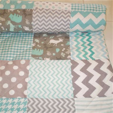 baby quilt grey teal aqua patchwork crib from happyquilts
