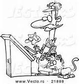 Coloring Outlined Cartoon Printer Watching Kitty Feline Mouse sketch template