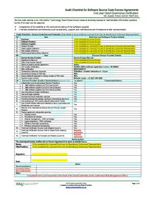 audit checklist  software source code escrow agreements