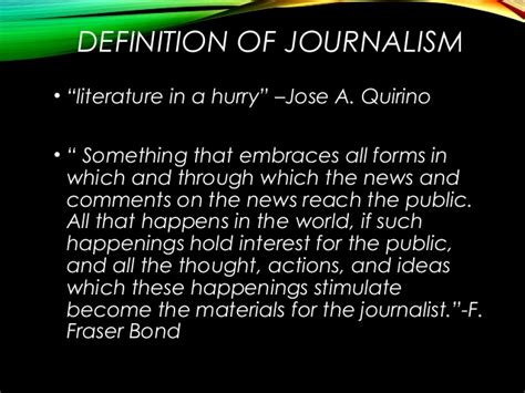 Journalism Definition by Introduction To Journalism