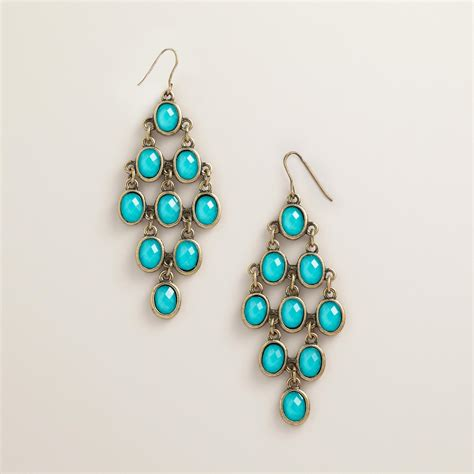 turquoise chandelier earrings turquoise and gold faceted chandelier earrings world market