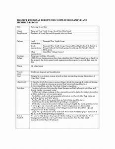 Project proposal form with completed example and itemized for Itemized proposal template