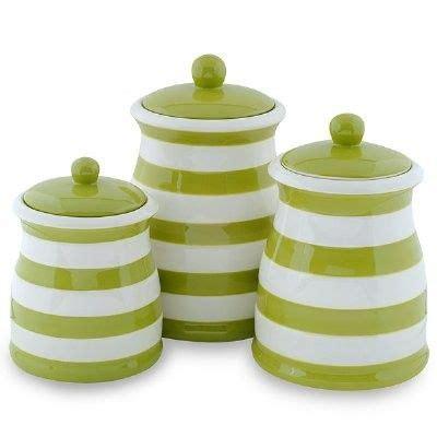 green white stripe ceramic kitchen canister set