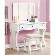 Vanity Set by Poundex 3 Pc White Finish Wood Make Up Bedroom Vanity Set With Curved Pedesta