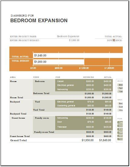 home remodel expense calculator microsoft word excel