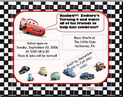 disney cars invitations templates