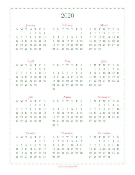 year glance calendar printables quiet