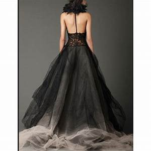 custom made amazing black wedding dress sexy halter open With sexy black wedding dress