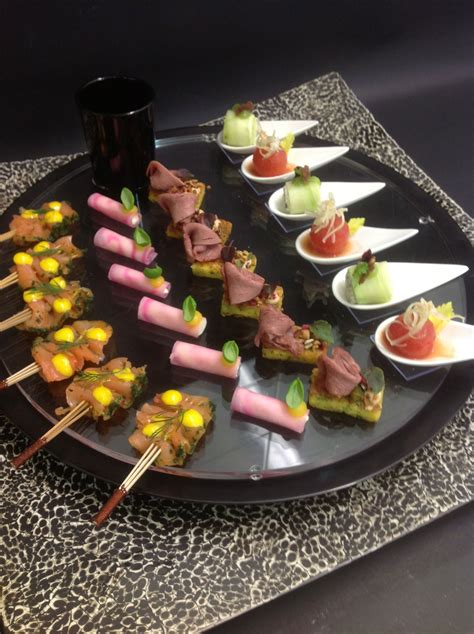 canape buffle gold and white wedding buffet dinner late snack