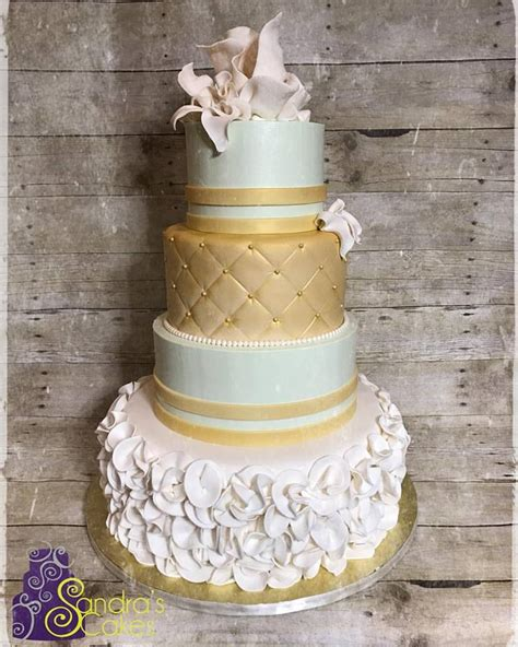 Ivory Mint And Gold Wedding Cake