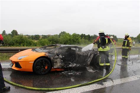 orange lamborghini aventador destroyed  fire  autobahn