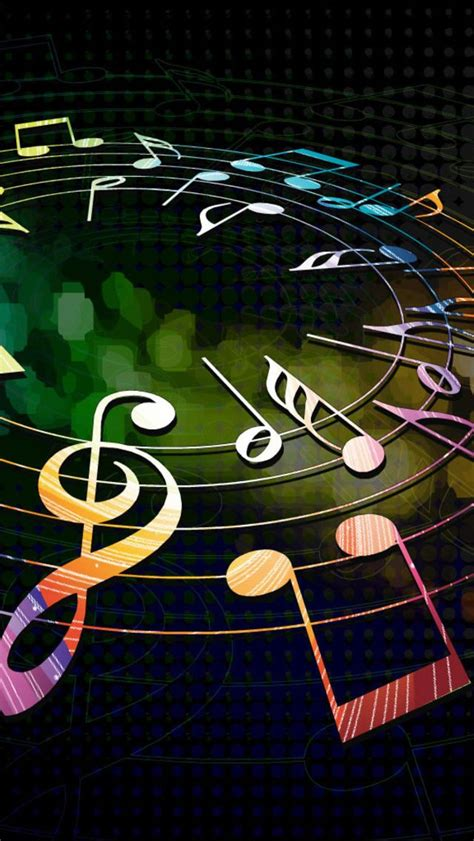 colorful musical notes iphone  wallpaper
