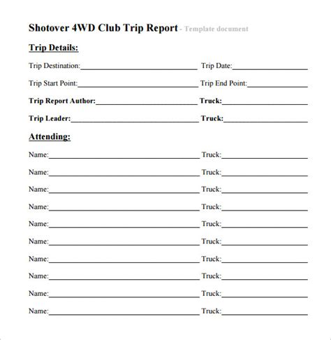 trip report templates word google docs apple pages